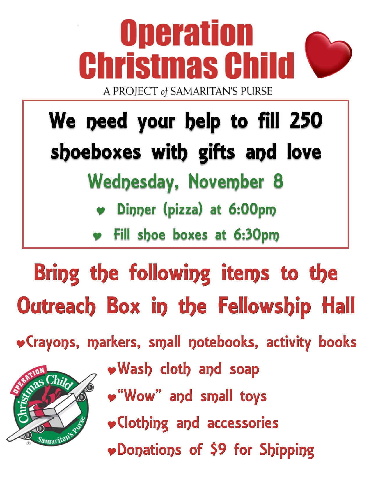 operation christmas child shoe box packing | oslcs