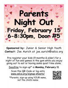 Parents Night Out @ Our Savior Gym, Door #5